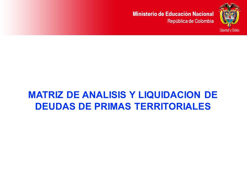 MATRIZ DE ANALISIS Y LIQUIDACION DE DEUDAS DE PRIMAS TERRITORIALES