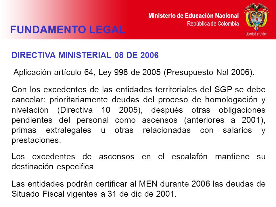 FUNDAMENTO LEGAL DIRECTIVA MINISTERIAL 08 DE 2006