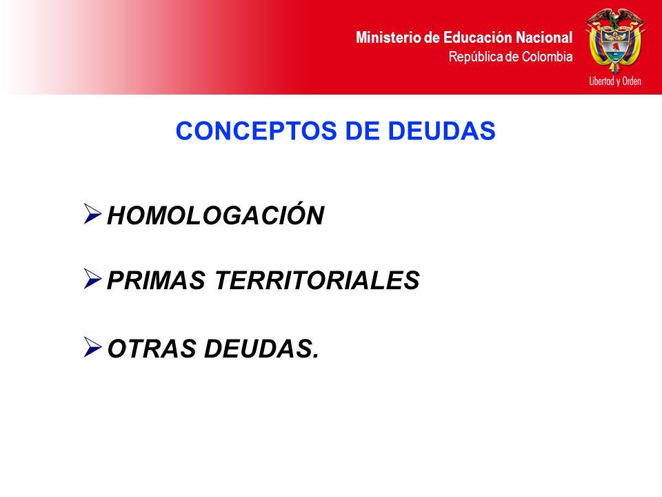 CONCEPTOS DE DEUDAS HOMOLOGACIÓN PRIMAS TERRITORIALES OTRAS DEUDAS.
