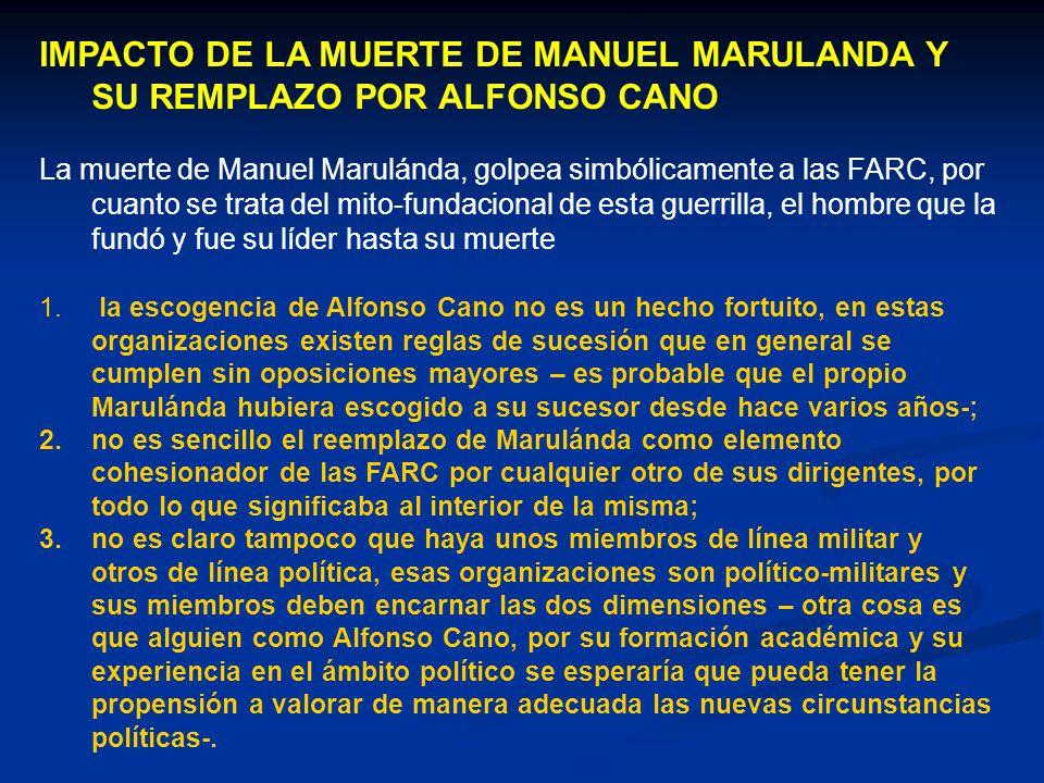 IMPACTO DE LA MUERTE DE MANUEL MARULANDA Y SU REMPLAZO POR ALFONSO CANO