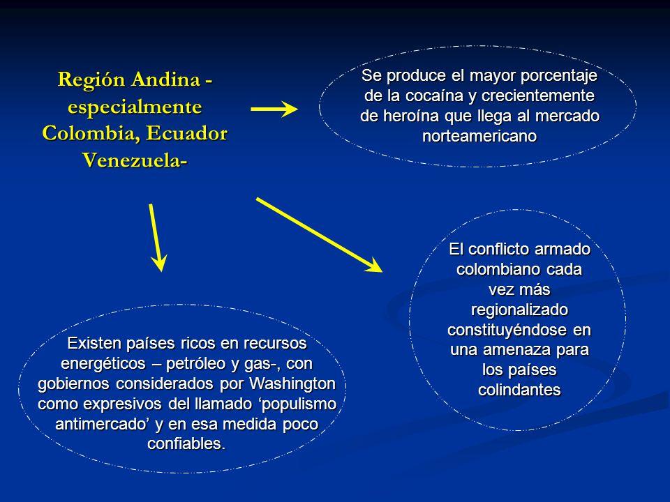 Región Andina -especialmente Colombia, Ecuador Venezuela-