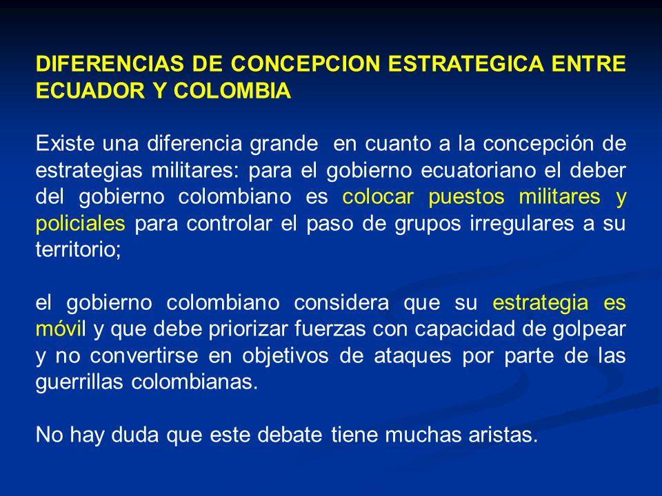 DIFERENCIAS DE CONCEPCION ESTRATEGICA ENTRE ECUADOR Y COLOMBIA