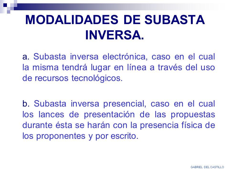 MODALIDADES DE SUBASTA INVERSA.