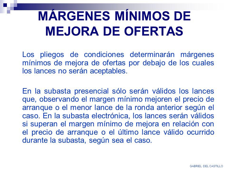 MÁRGENES MÍNIMOS DE MEJORA DE OFERTAS
