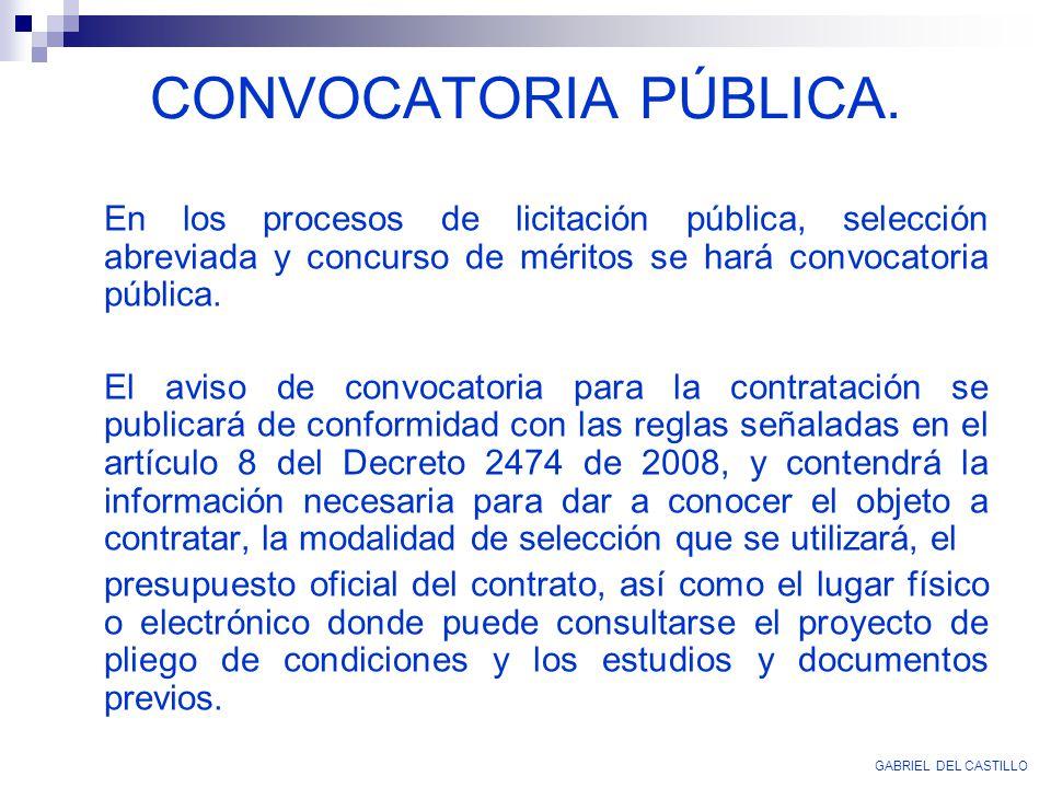 CONVOCATORIA PÚBLICA. GABRIEL DEL CASTILLO