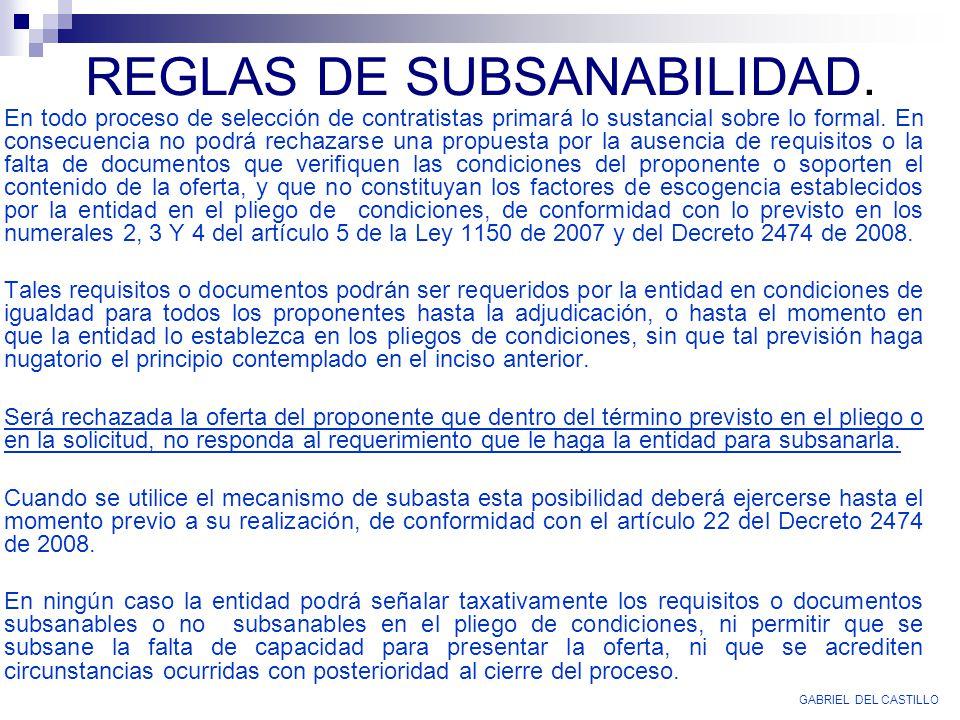 REGLAS DE SUBSANABILIDAD.