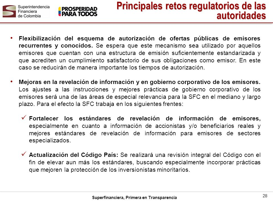 Principales retos regulatorios de las autoridades