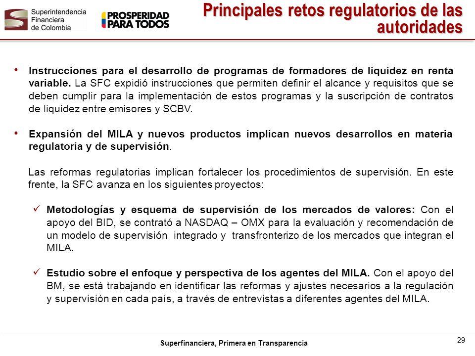 Principales retos regulatorios de las autoridades