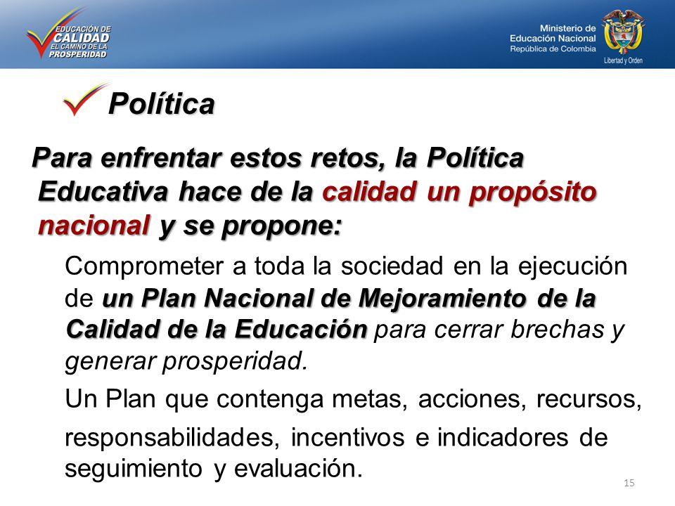 Política Para enfrentar estos retos, la Política Educativa hace de la calidad un propósito nacional y se propone: