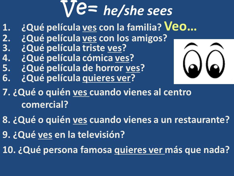 Ve= he/she sees ¿Qué película ves con la familia Veo…