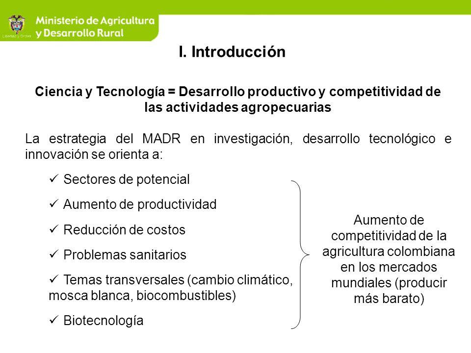 I. Introducción Ciencia y Tecnología = Desarrollo productivo y competitividad de las actividades agropecuarias.