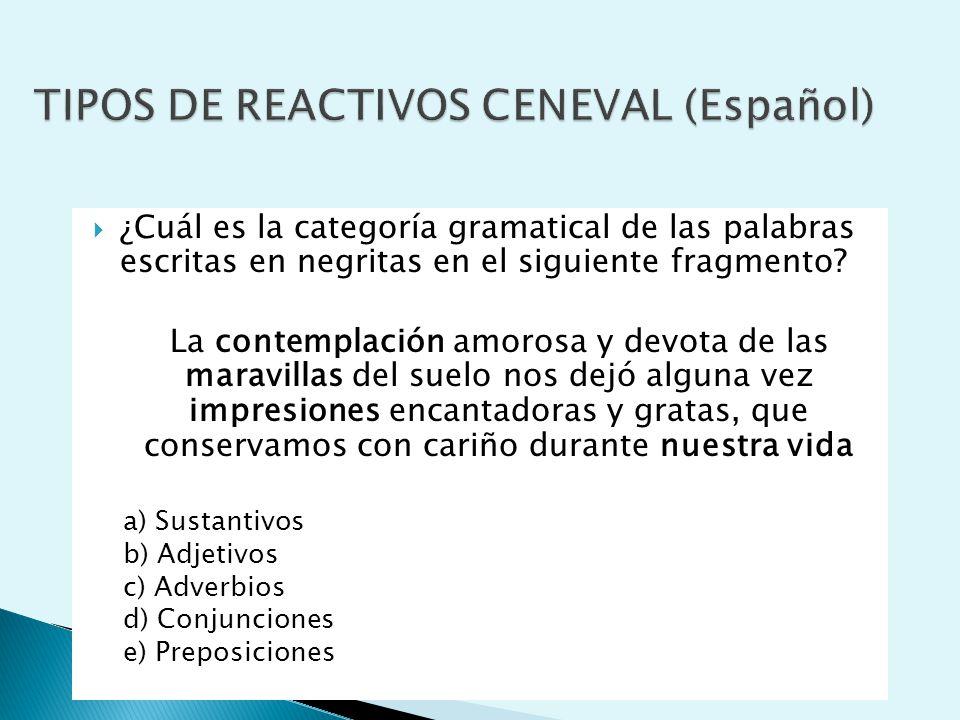 TIPOS DE REACTIVOS CENEVAL (Español)
