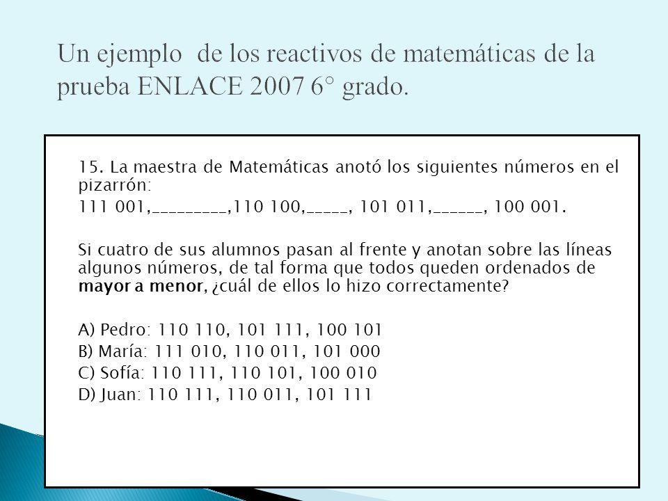 Un ejemplo de los reactivos de matemáticas de la prueba ENLACE 2007 6° grado.