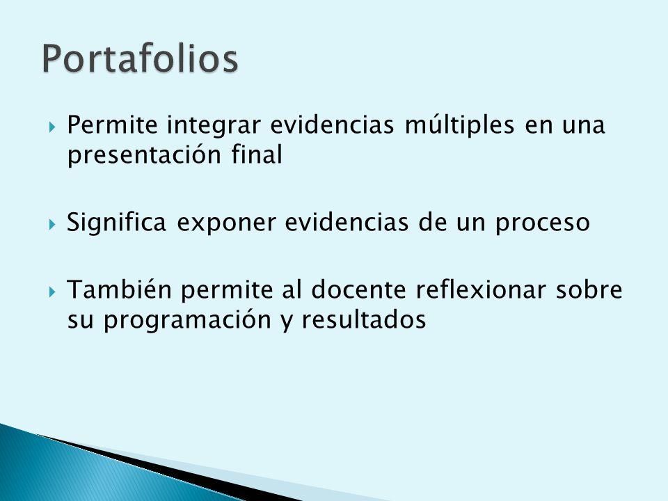 Portafolios Permite integrar evidencias múltiples en una presentación final. Significa exponer evidencias de un proceso.