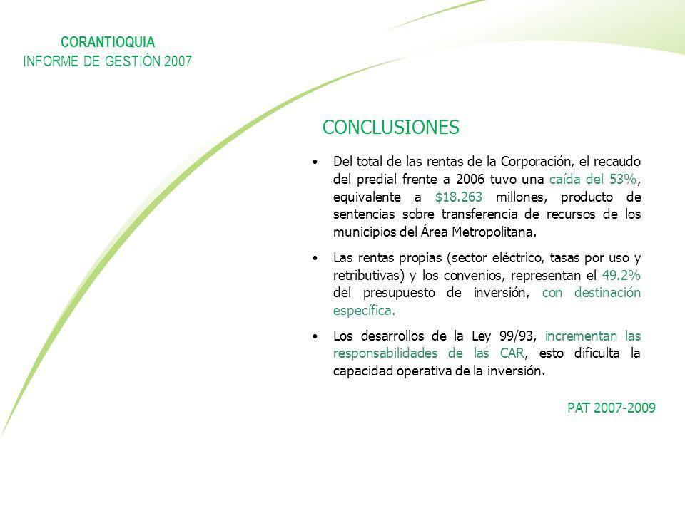 CONCLUSIONES CORANTIOQUIA INFORME DE GESTIÓN 2007