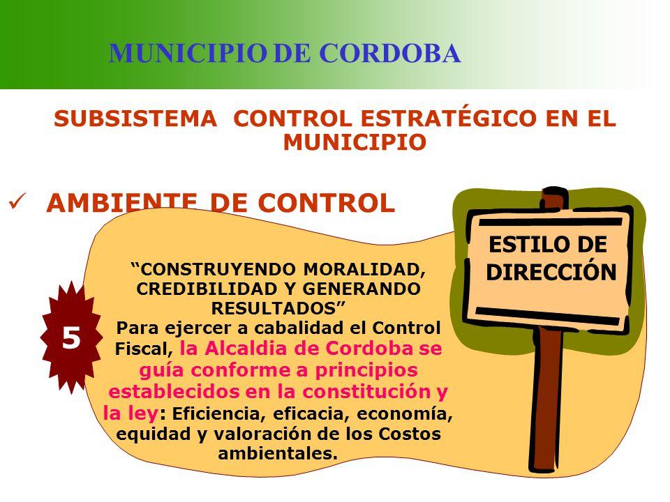 SUBSISTEMA CONTROL ESTRATÉGICO EN EL MUNICIPIO AMBIENTE DE CONTROL