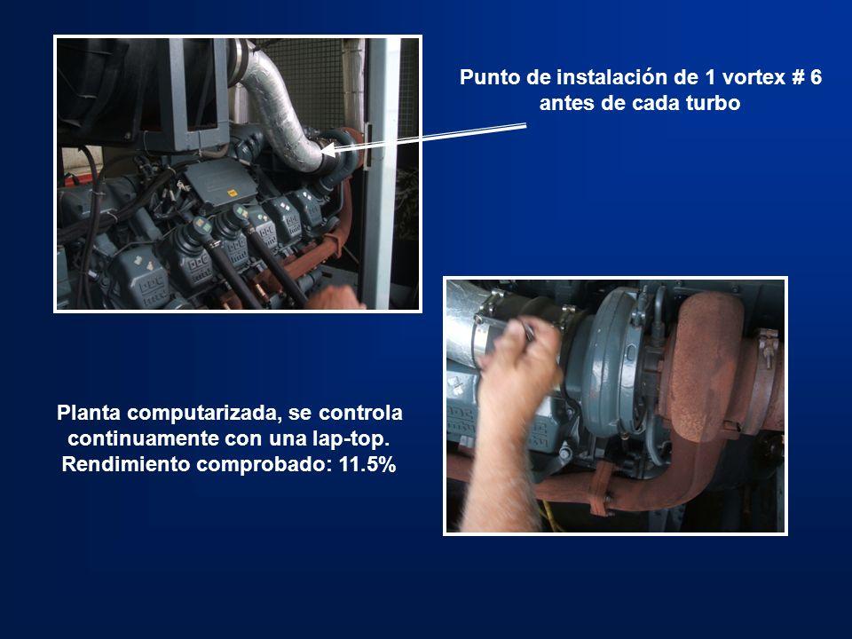 Punto de instalación de 1 vortex # 6 antes de cada turbo
