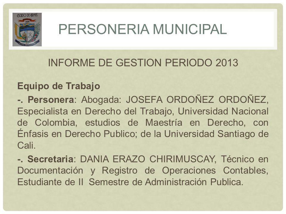 INFORME DE GESTION PERIODO 2013