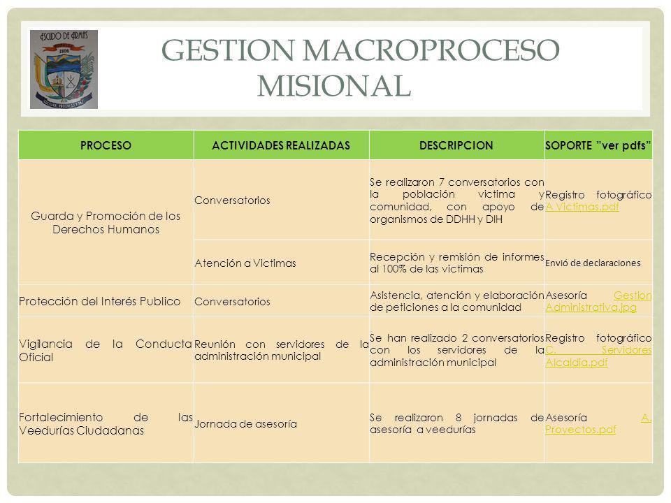 GESTION MACROPROCESO MISIONAL
