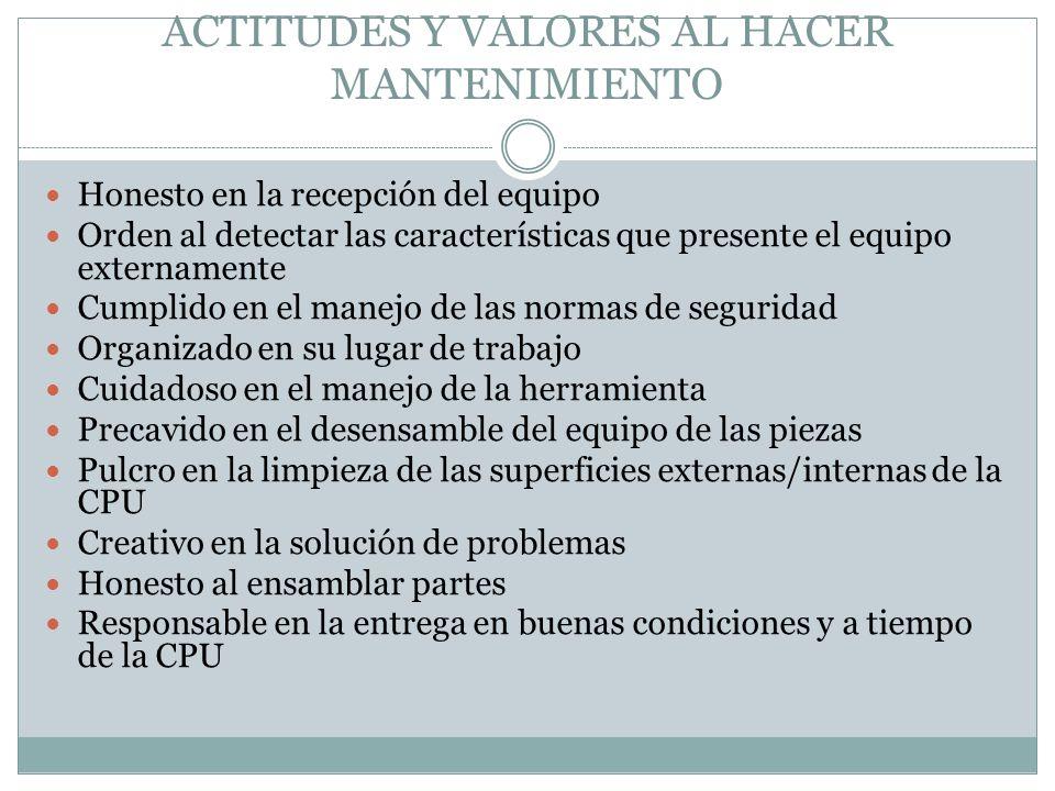 ACTITUDES Y VALORES AL HACER MANTENIMIENTO