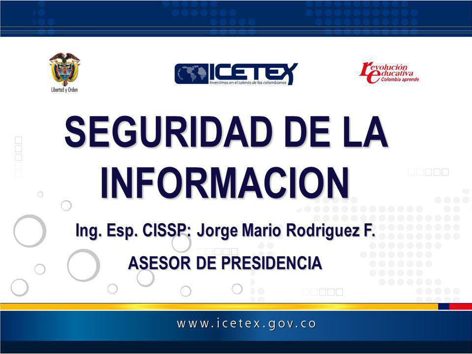 SEGURIDAD DE LA INFORMACION Ing. Esp. CISSP: Jorge Mario Rodriguez F.