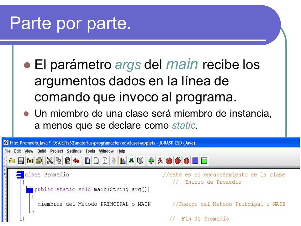 Parte por parte.El parámetro args del main recibe los argumentos dados en la línea de comando que invoco al programa.
