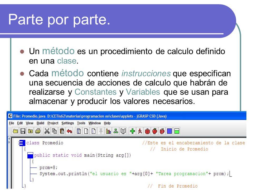 Parte por parte. Un método es un procedimiento de calculo definido en una clase.