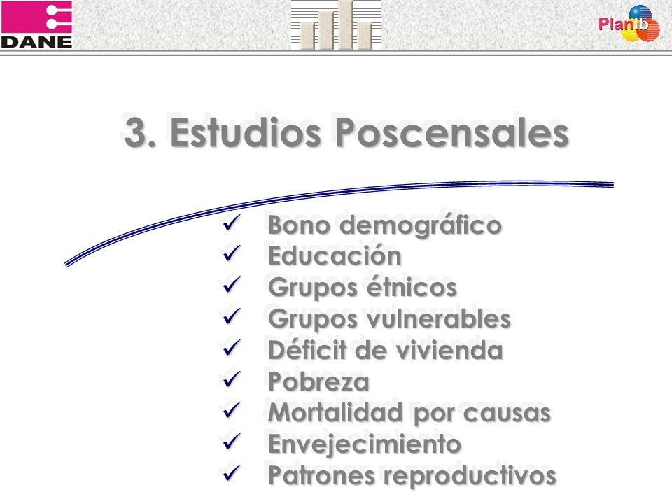 3. Estudios Poscensales Bono demográfico Educación Grupos étnicos