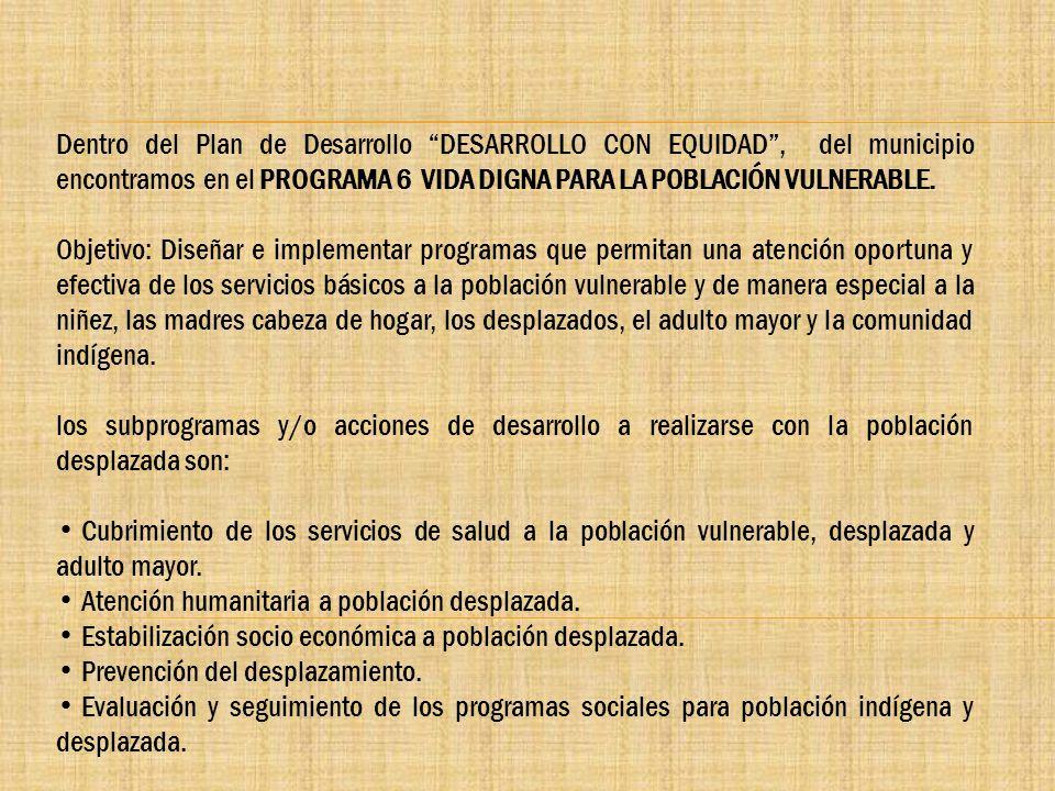 Dentro del Plan de Desarrollo DESARROLLO CON EQUIDAD , del municipio encontramos en el PROGRAMA 6 VIDA DIGNA PARA LA POBLACIÓN VULNERABLE.