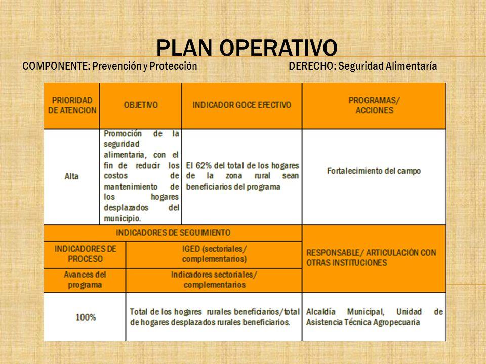 PLAN OPERATIVO COMPONENTE: Prevención y Protección DERECHO: Seguridad Alimentaría.