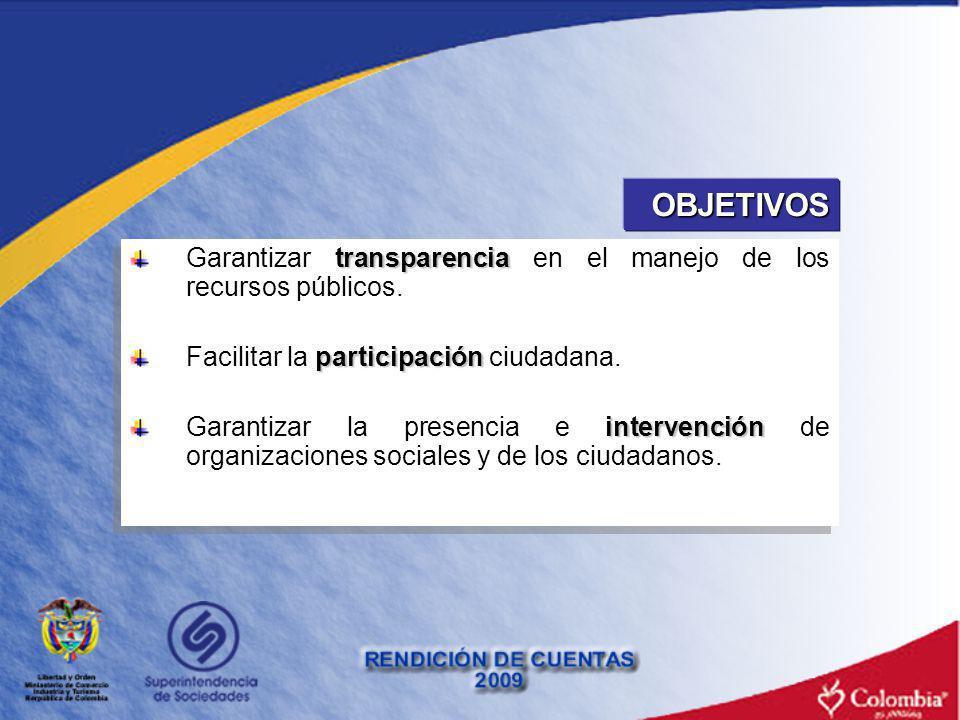 OBJETIVOS Garantizar transparencia en el manejo de los recursos públicos. Facilitar la participación ciudadana.