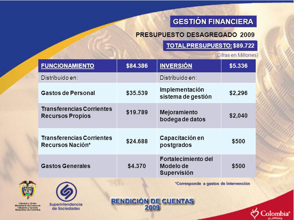 PRESUPUESTO DESAGREGADO 2009 *Corresponde a gastos de Intervención