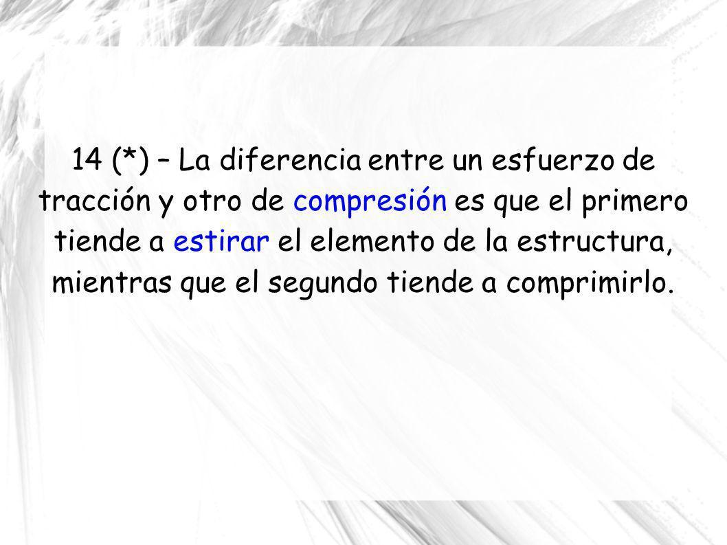 14 (*) – La diferencia entre un esfuerzo de tracción y otro de compresión es que el primero tiende a estirar el elemento de la estructura, mientras que el segundo tiende a comprimirlo.