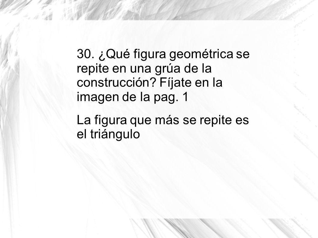 30. ¿Qué figura geométrica se repite en una grúa de la construcción