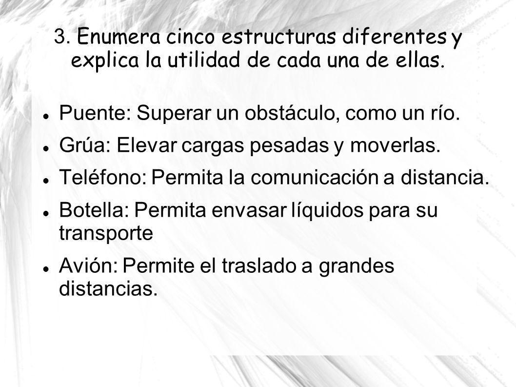 3. Enumera cinco estructuras diferentes y explica la utilidad de cada una de ellas.