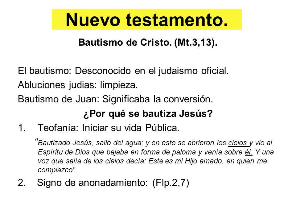 Bautismo de Cristo. (Mt.3,13). ¿Por qué se bautiza Jesús