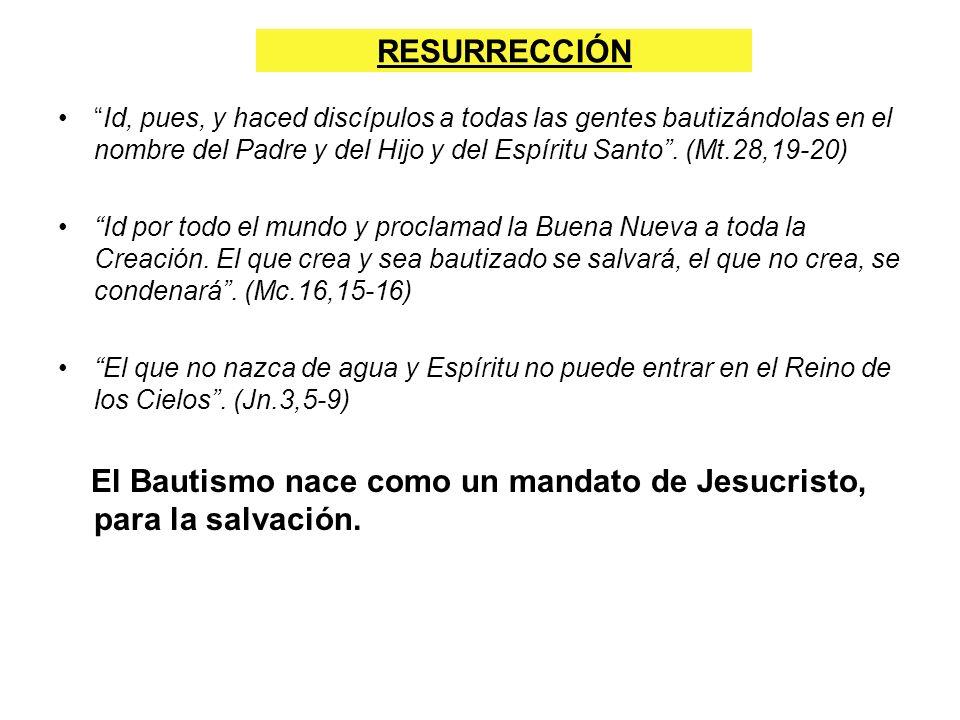 RESURRECCIÓN Id, pues, y haced discípulos a todas las gentes bautizándolas en el nombre del Padre y del Hijo y del Espíritu Santo . (Mt.28,19-20)