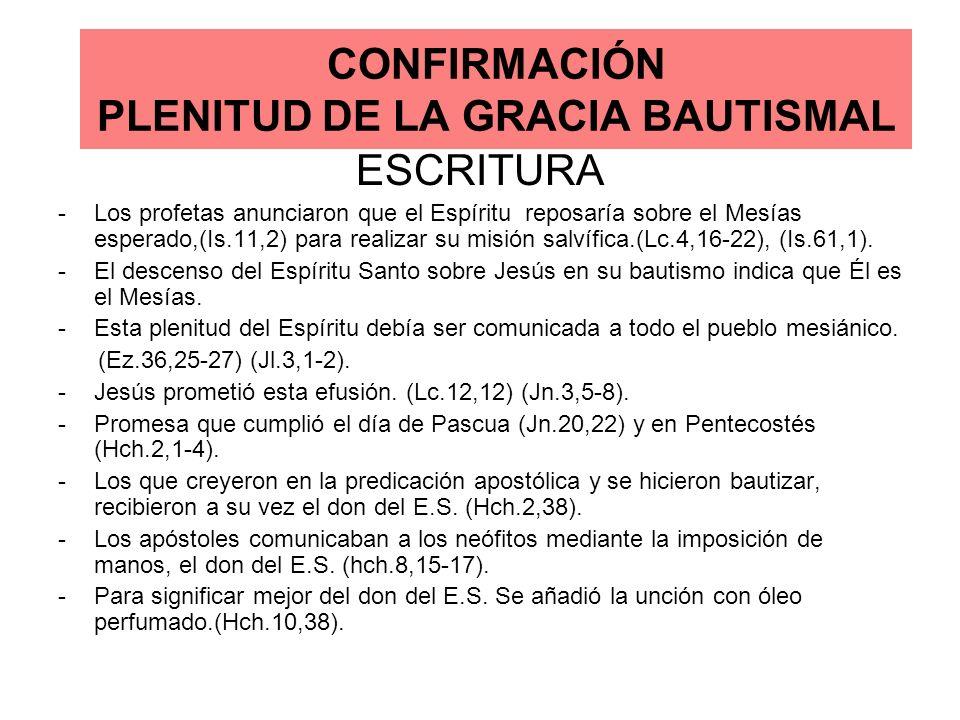 CONFIRMACIÓN PLENITUD DE LA GRACIA BAUTISMAL