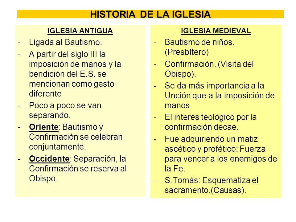 HISTORIA DE LA IGLESIA Ligada al Bautismo.
