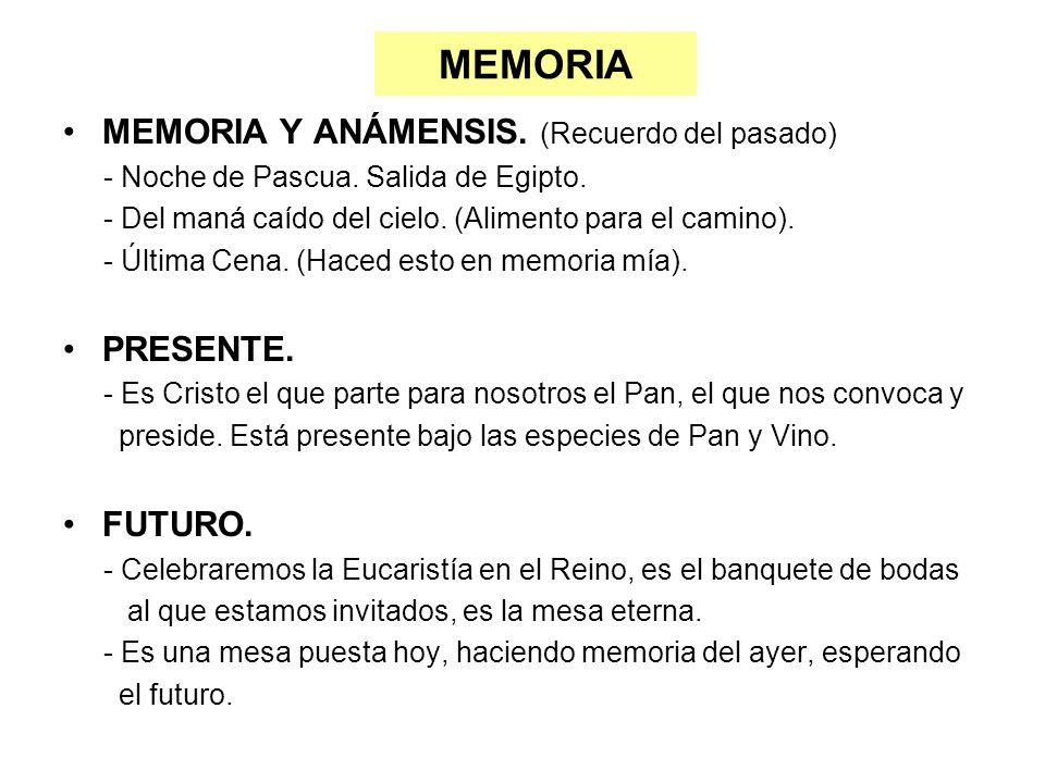 MEMORIA MEMORIA Y ANÁMENSIS. (Recuerdo del pasado) PRESENTE. FUTURO.