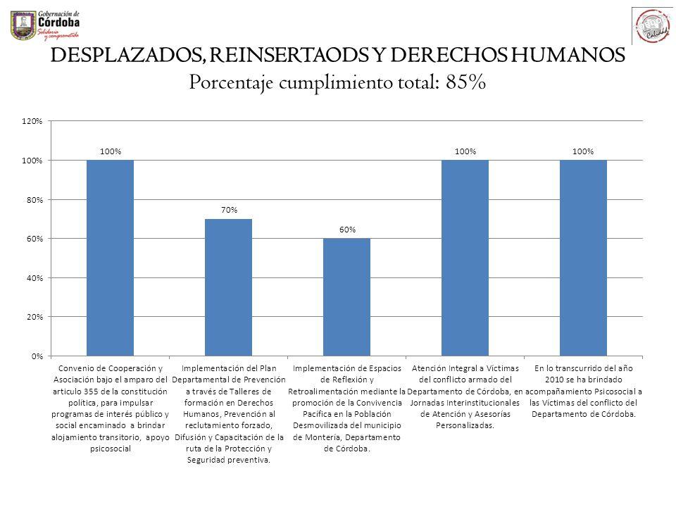 DESPLAZADOS, REINSERTAODS Y DERECHOS HUMANOS Porcentaje cumplimiento total: 85%