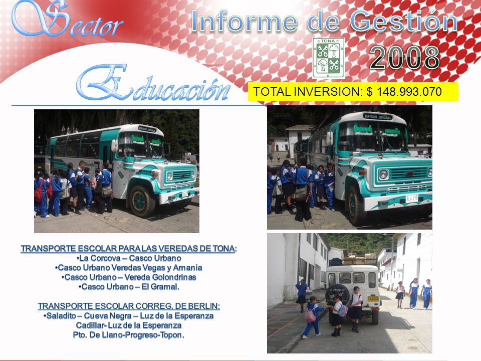 Sector Educación Informe de Gestión 2008