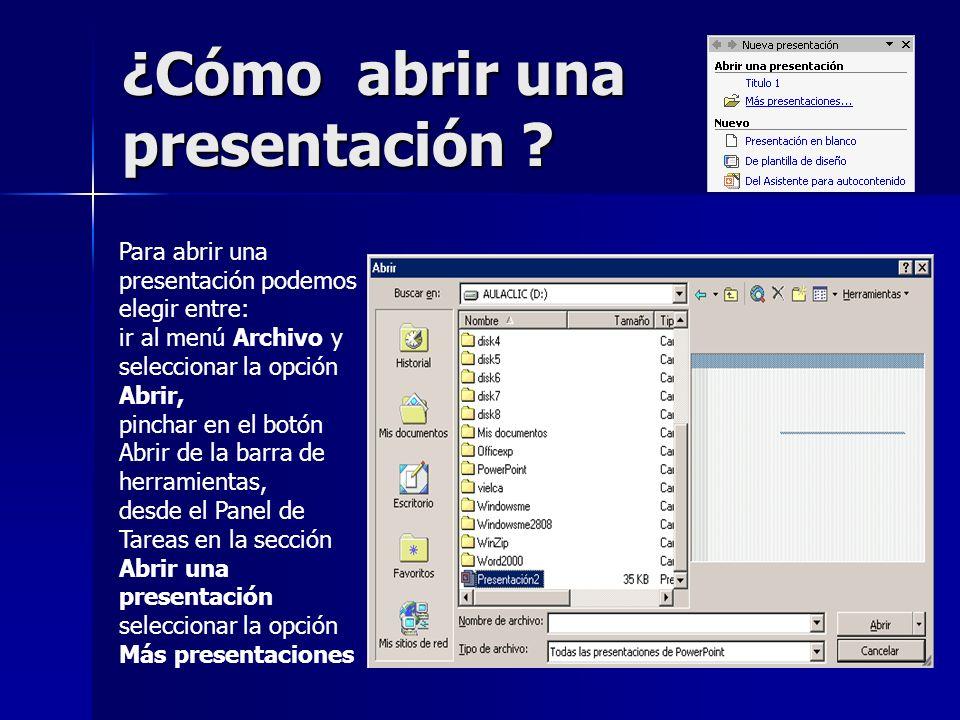 ¿Cómo abrir una presentación