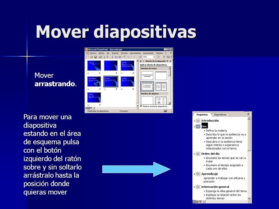 Mover diapositivas Mover arrastrando.