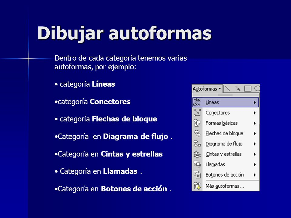 Dibujar autoformasDentro de cada categoría tenemos varias autoformas, por ejemplo: categoría Líneas.