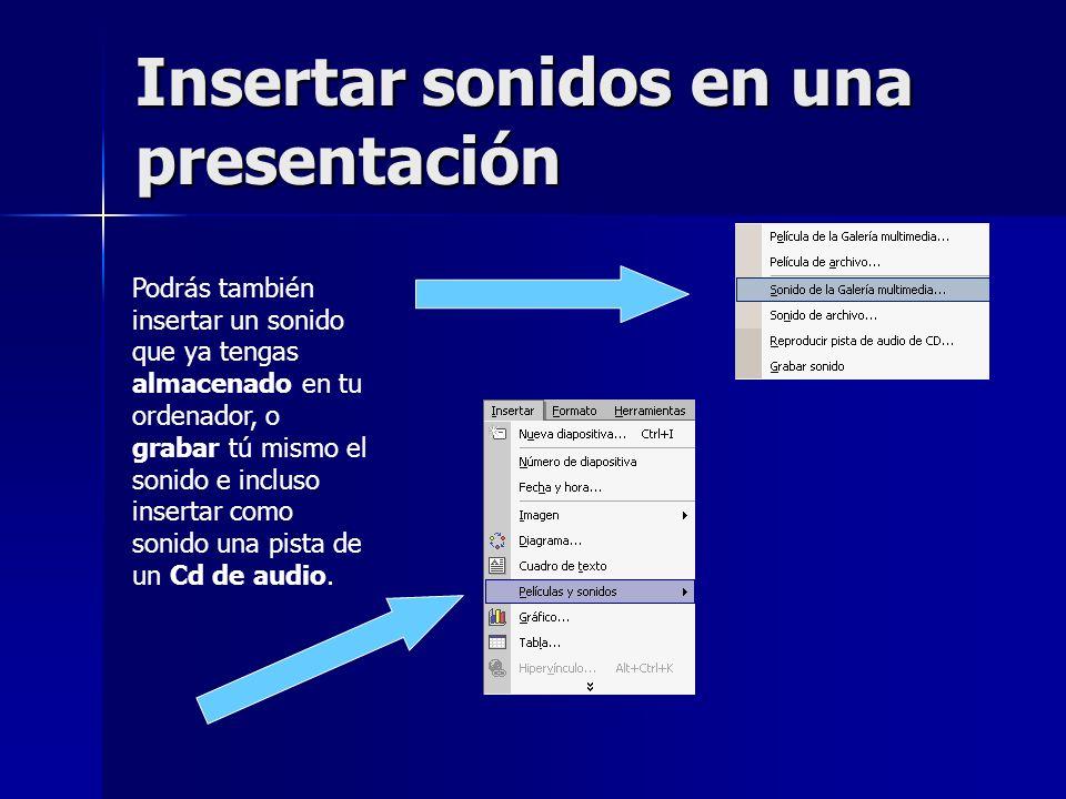 Insertar sonidos en una presentación