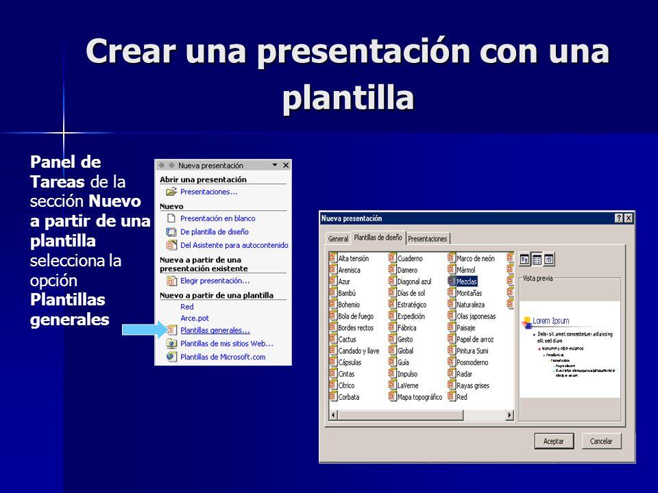 Crear una presentación con una plantilla