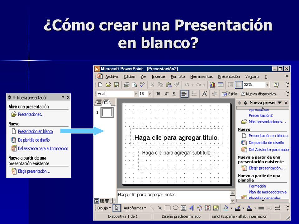 ¿Cómo crear una Presentación en blanco
