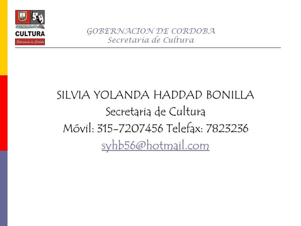 GOBERNACION DE CORDOBA Secretaria de Cultura