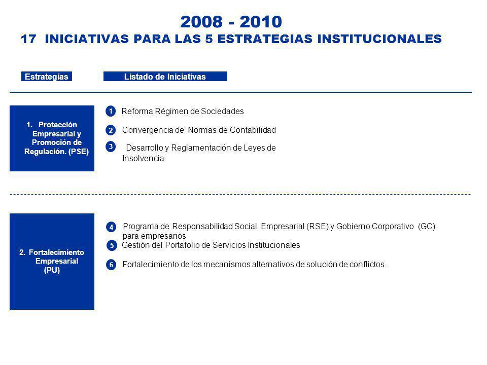 2008 - 2010 17 INICIATIVAS PARA LAS 5 ESTRATEGIAS INSTITUCIONALES